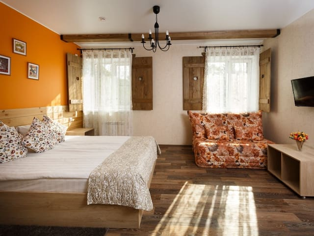 """NEW building Double room with one double bed the category of . Guest house """" Three cats"""""""