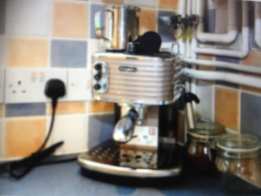 The DeLonghi  coffee maker. Guests can help themselves to the coffee and tea etc in the kitchen.