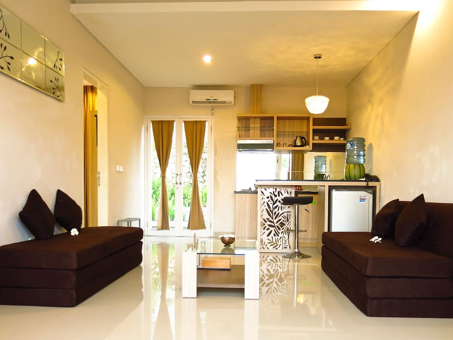 Living room with sofabed as sofa if guest stay <4persons