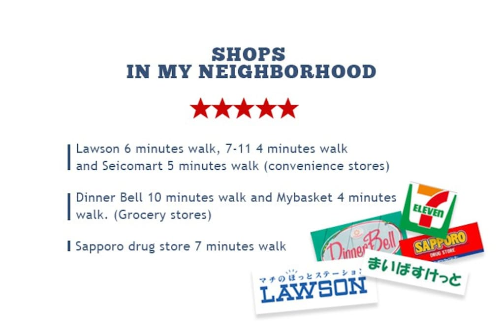 Convenience stores and grocery stores are within walking distance