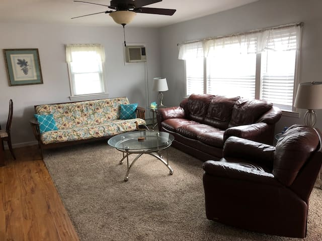 Spacious living room with laminate flooring, large screen cable TV, leather sofa, double size futon for extra sleeping