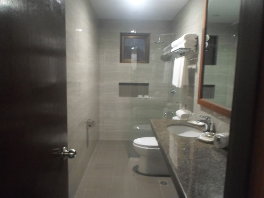 This photo is a sample photo of a toilet and bath in this Botique Hotel. Some are wider. Here the shower room has a glass cubicle (whatever you call it) and modern water heater (please don't expect it to be very hot - it was controlled not to be too hot).