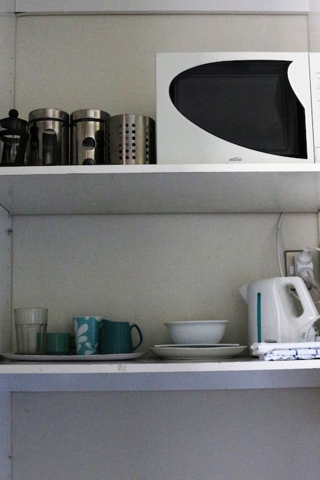 Basic food & drink preparation facilities next to your room: microwave, sandwich toaster and kettle