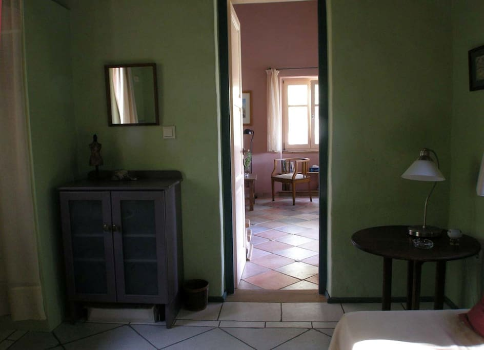 View to the living room from the second bedroom