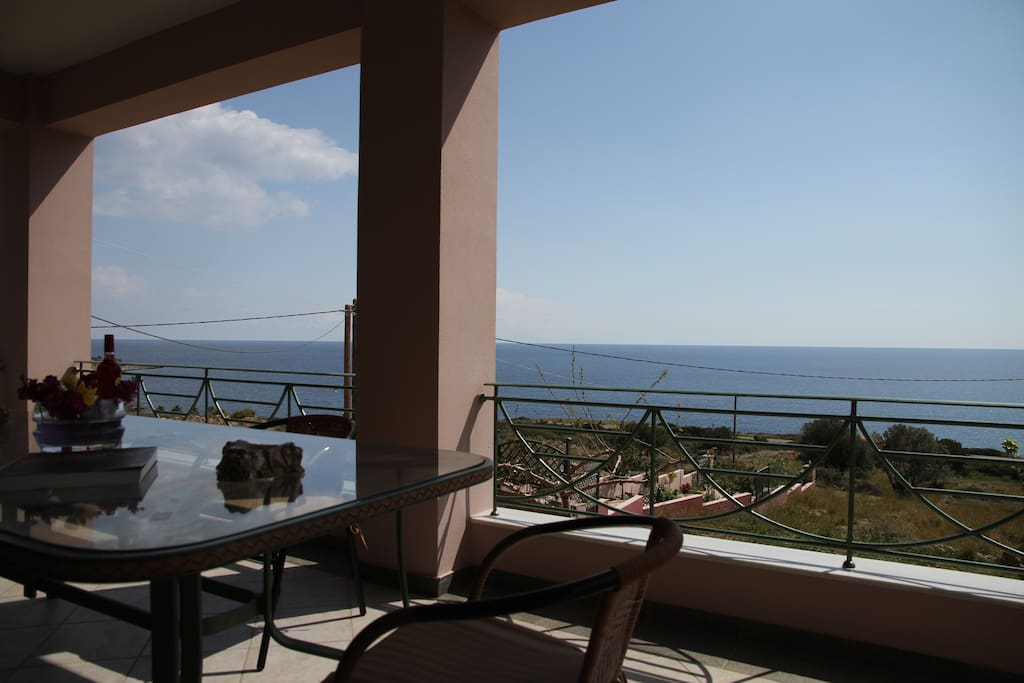 Aegean Sea is visible from everywhere inside and outside of the house