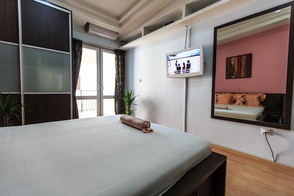 One bedroom with french  bed, TV with cable TV
