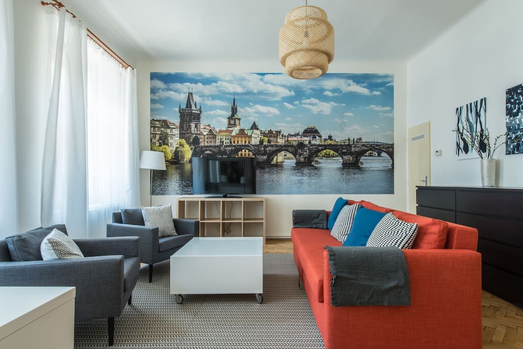 Living room with stylish poster