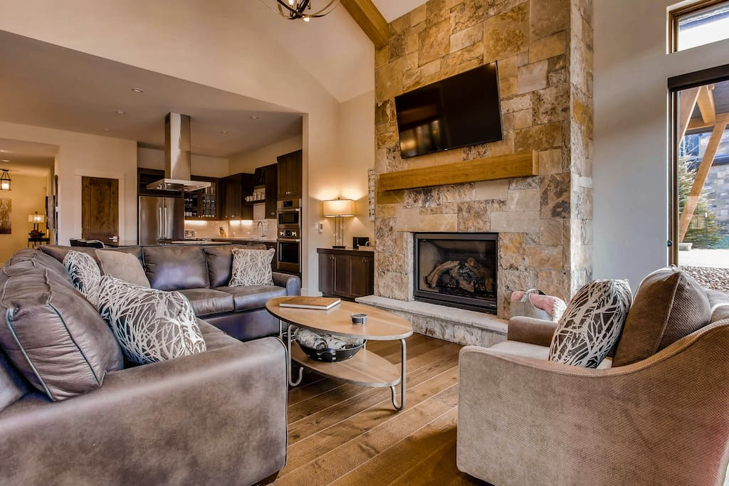 which features a gas fireplace, TV and best of all, private views of the nearby river