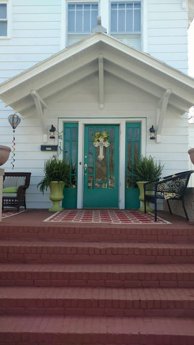 Front door to gracious home.  Private guest entrance for guest rooms in the back.