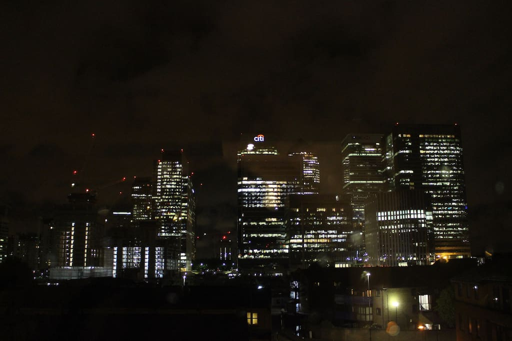 View of Canary Wharf from the top floor kitchen at night.