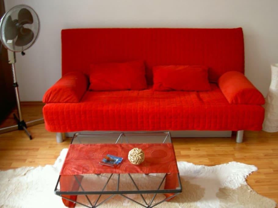 Wohnzimmer mit Balkon, die Couch lässt sich mit zwei Handgriffen in ein bequemes Bett (1,45 x 200 m) umklappen.