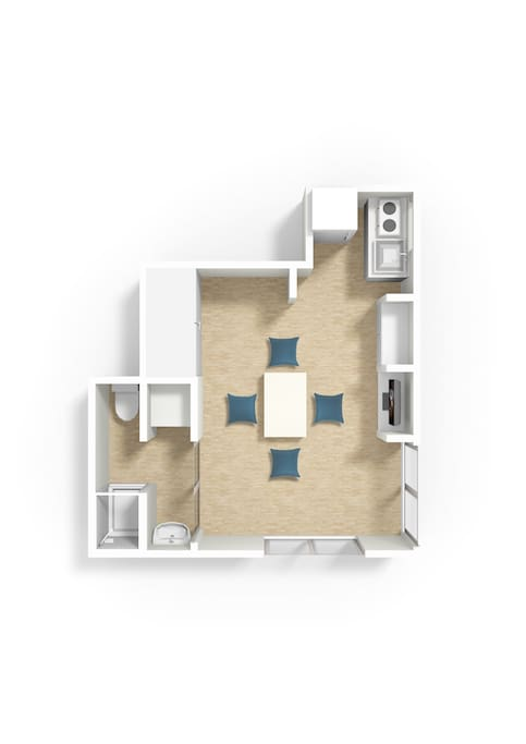 Floorplan of Michi's House. There is enough space for 3 as well as kitchenette and bathroom.