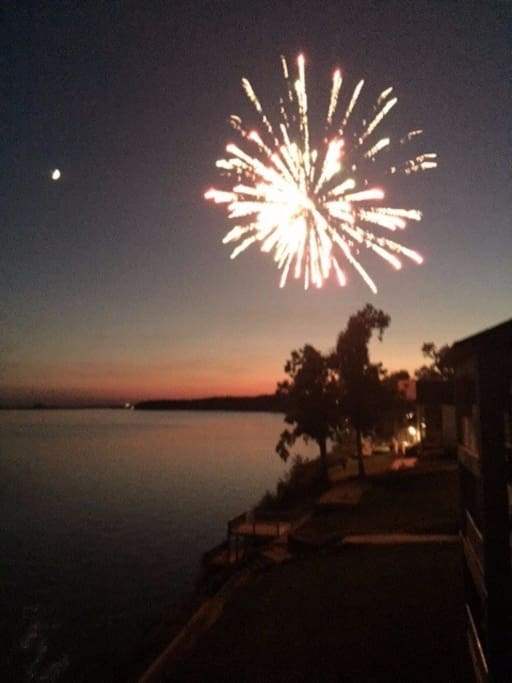 View from the deck. Fireworks at the 4th of July over the River.