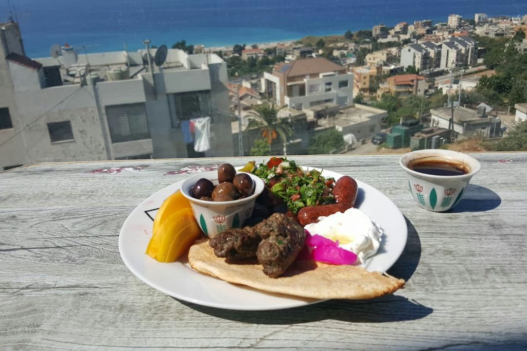 One of the guests prepared this lebanese food and served them on the balcony.
