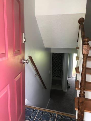 A few steps to basement.