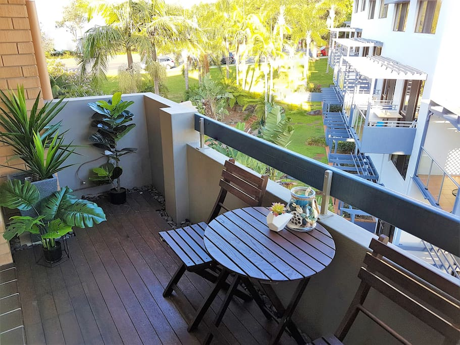 Enjoy a beverage or two on the balcony. Cheers!