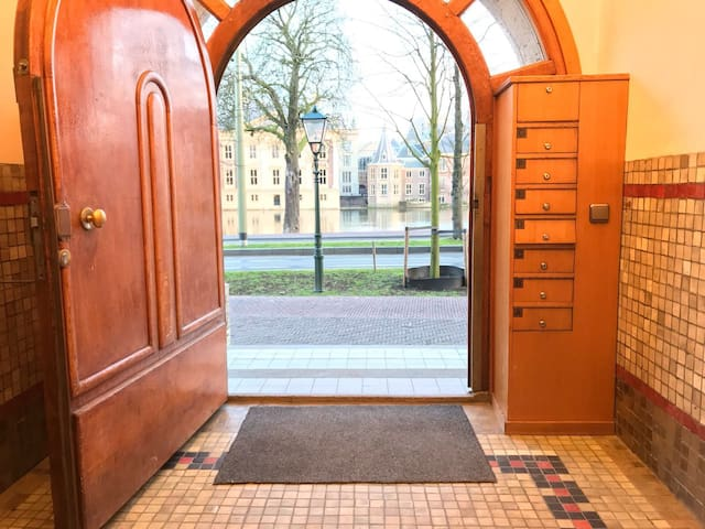 View from the entrance door of the apartment right in front of the Hofvijver! You can see the tower of our prime minister
