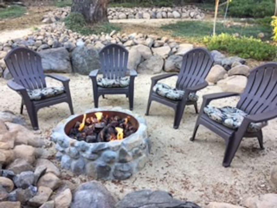 Gas fire pit in back