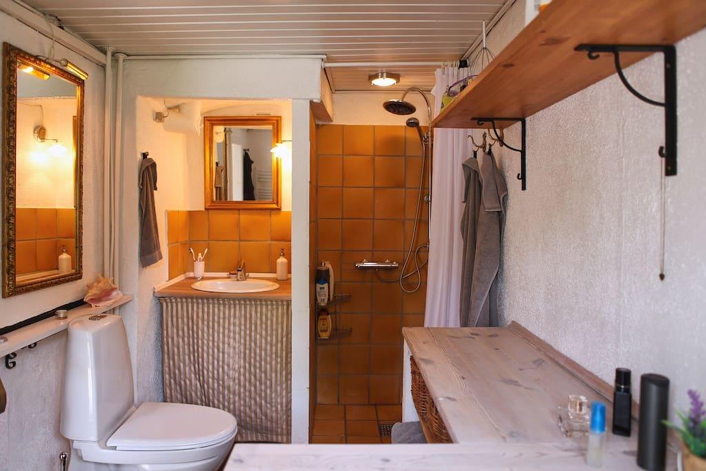 Toilet med brus, hårtørrer mv