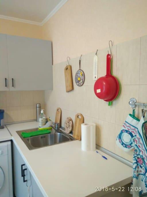 на кухне есть всё необходимое