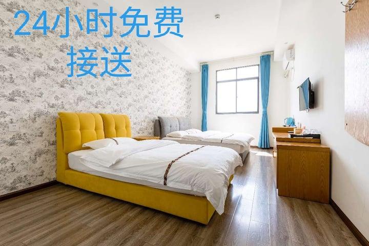 昆明机场24小时免费接送1.8米1.2米双床家庭套房空调房