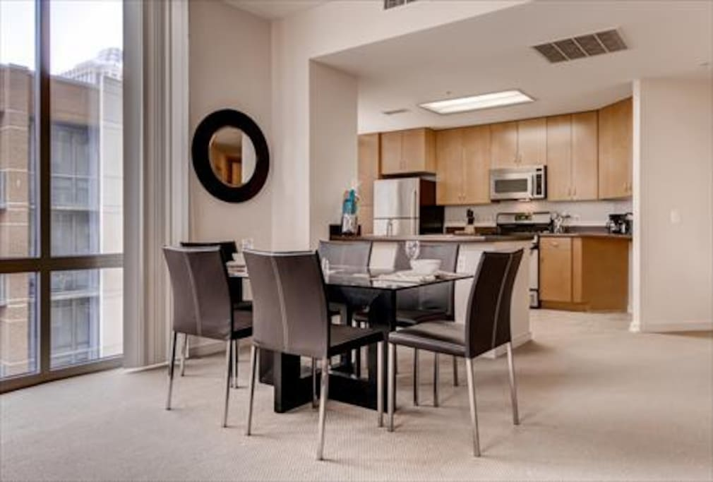 Dining area with seating for six, where you can dine in comfort