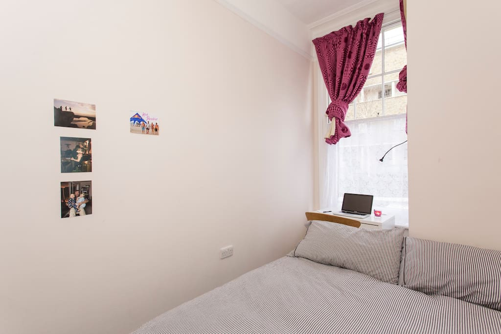 Bedroom on offer with desk, reading lamp, comfy bed and new clean sheets and towels.