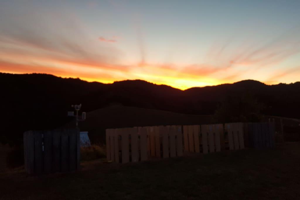 Sunset at Whananaki Barn