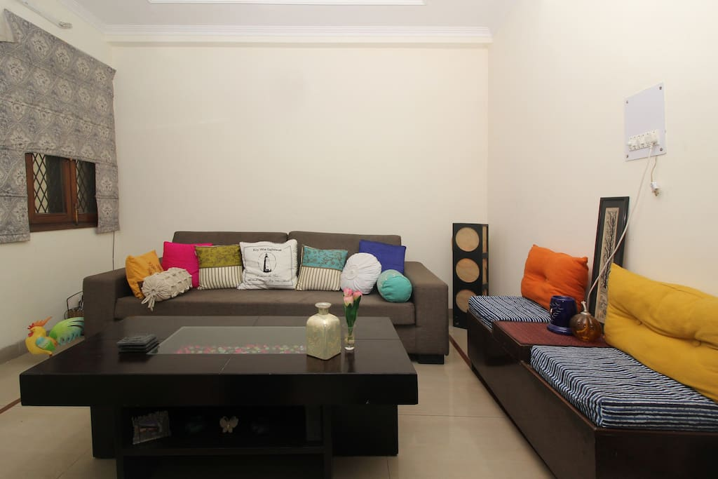 Our Living room - one that holds the treasure of those unforgettable chit chats, gossip..and (also some) sane & intellectual conversations we've had with our guests.. now our extended famiies !