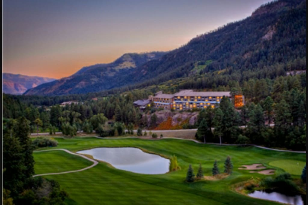 The Lodge at Tamarron surrounded by the picturesque, high altitude valley golf course.  One of the best mountain golf courses in the rocky mountains