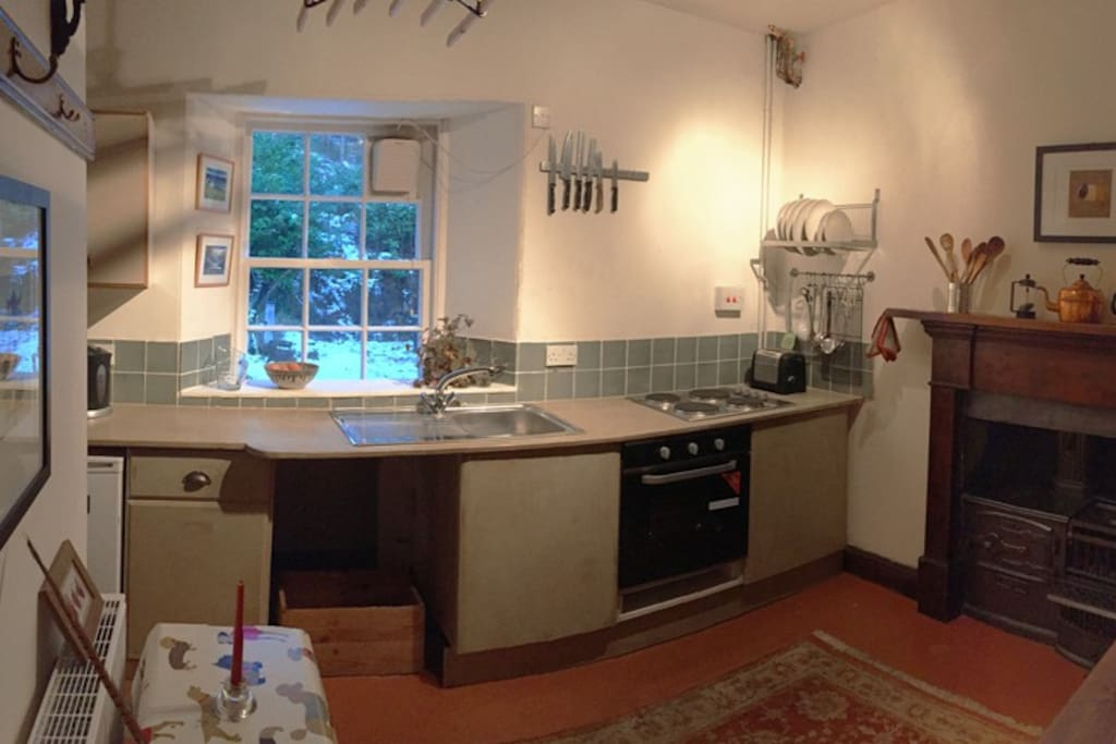 Kitchen with a view of the squirrel feeders! And cooker, hob, fridge, freezer, and original range.