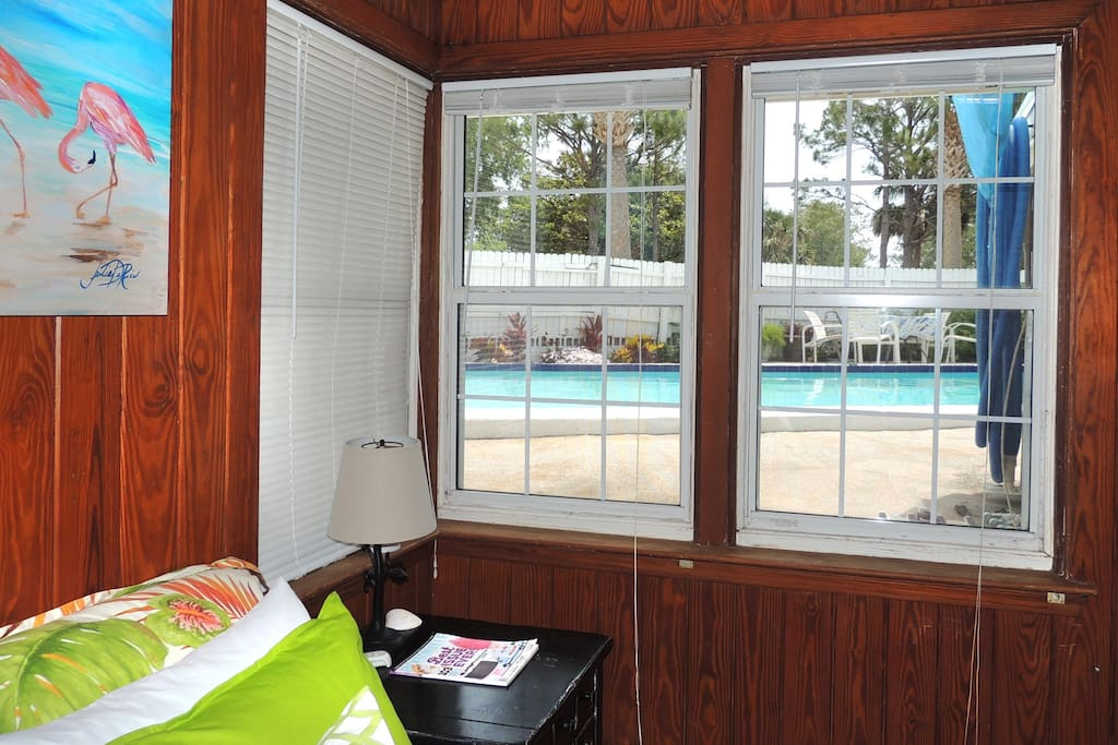 Guest room has a pool view!