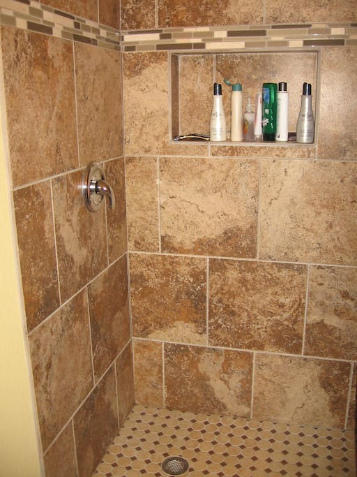Tiled Walk in shower in Main bathroom
