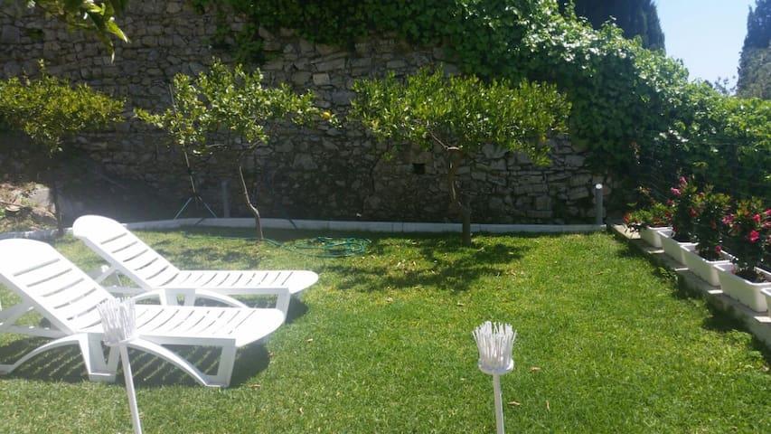 Il giardino privato degli ospiti con prato inglese e due comodissime sdraio