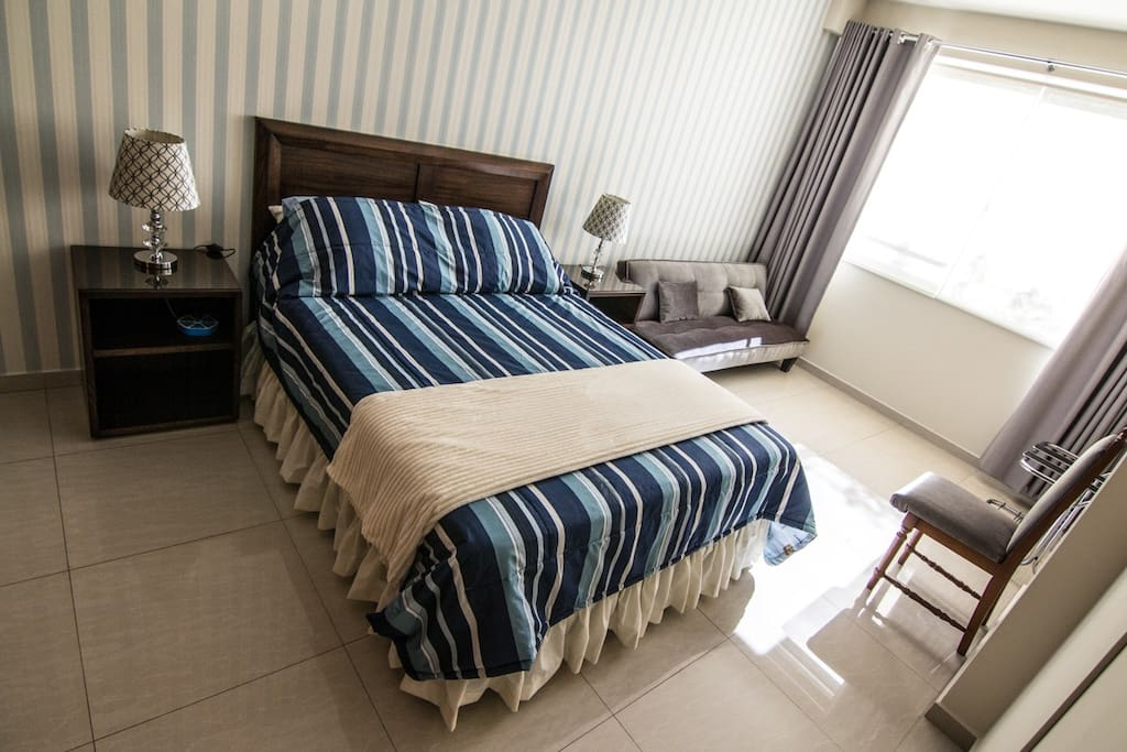 """Room A"" Confortable Master Bedroom, Top of the Line Queen Bed plus a sleeper sofa."
