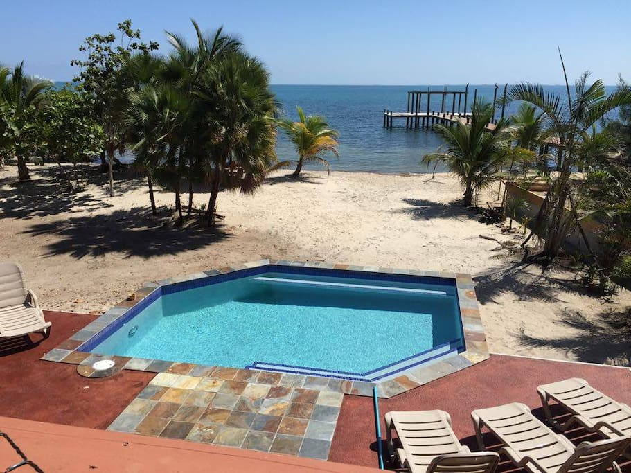 A mere walk across the street is the Caribbean Sea and our beachfront swimming pool. You will have access to this and the nice little reef about 300 feet from shore.  Pool hours 8 am to 8 pm