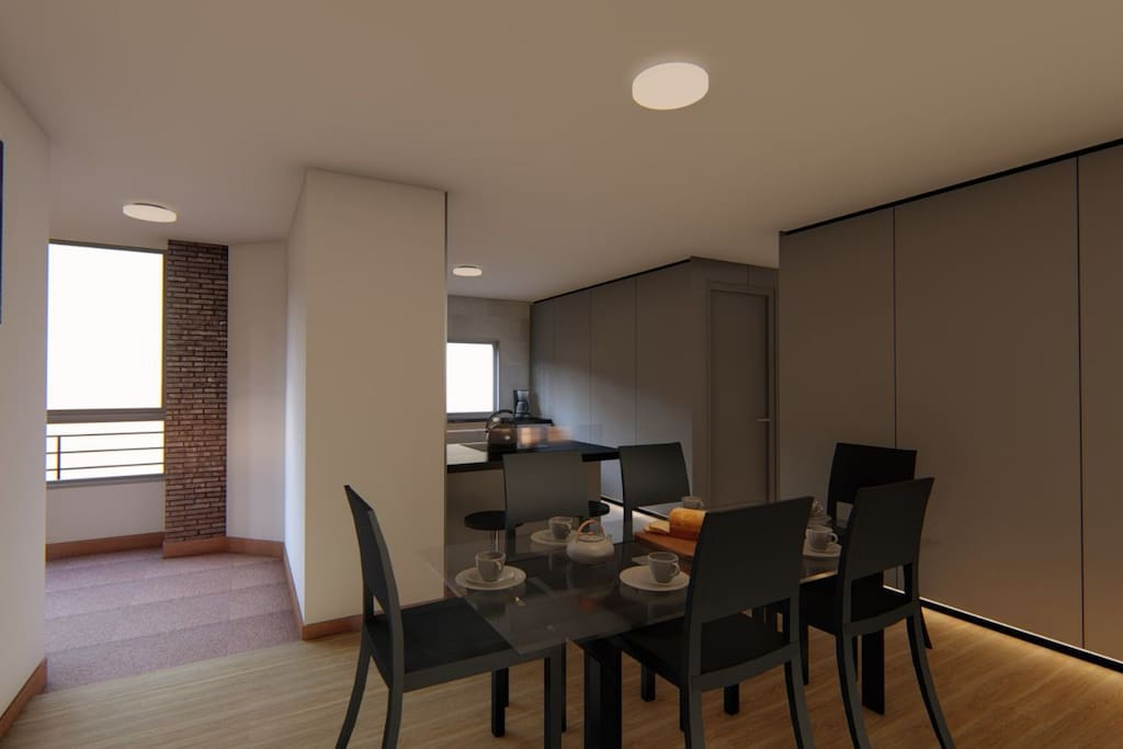 Render · Living Room + Open Kitchen