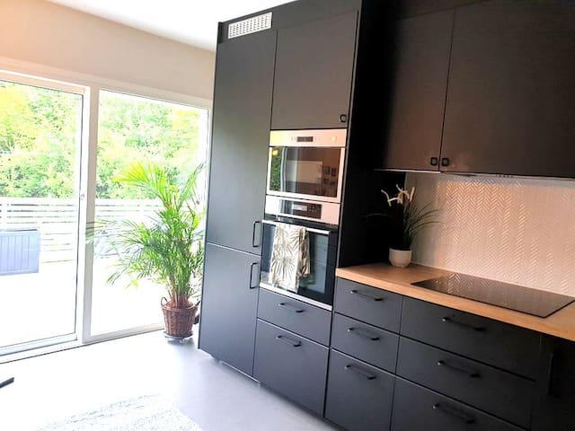Moderne leilighet med privat hage til utleie.
