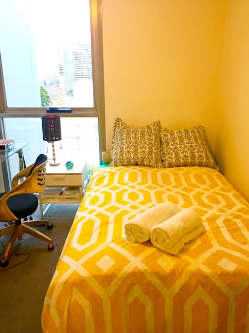 There is a desk and chair in your bedroom