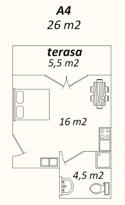 Apartman 4 (studio) tlocrt