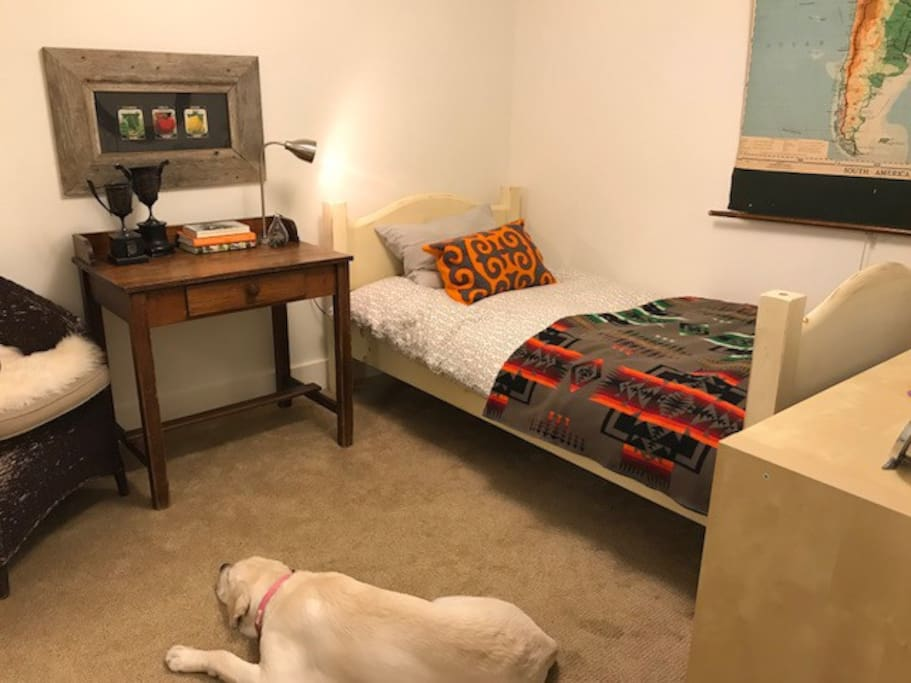 Bedroom with twin bed downstairs
