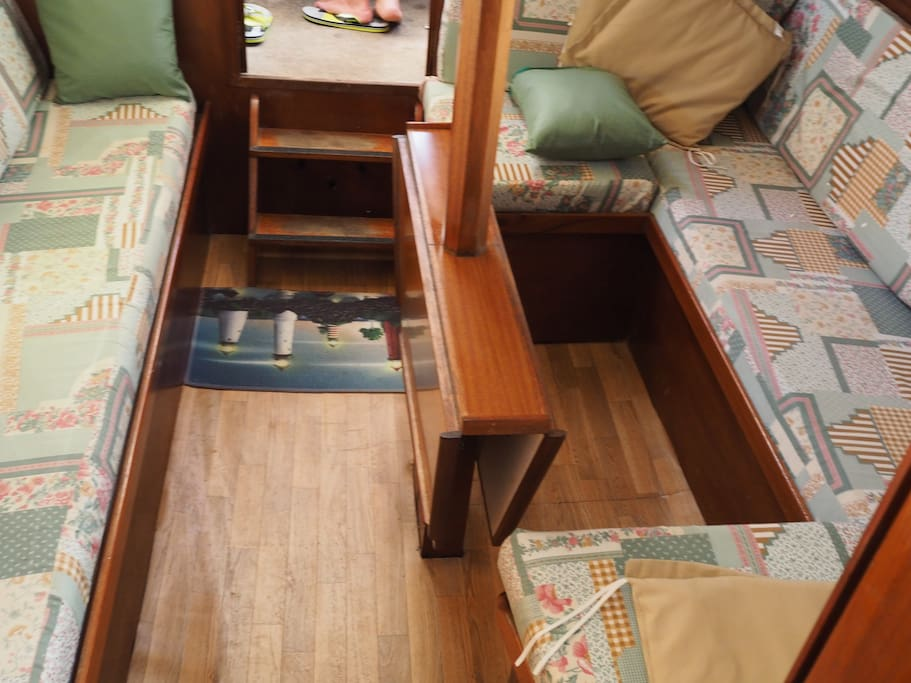 inside main cabin, sofa and bed