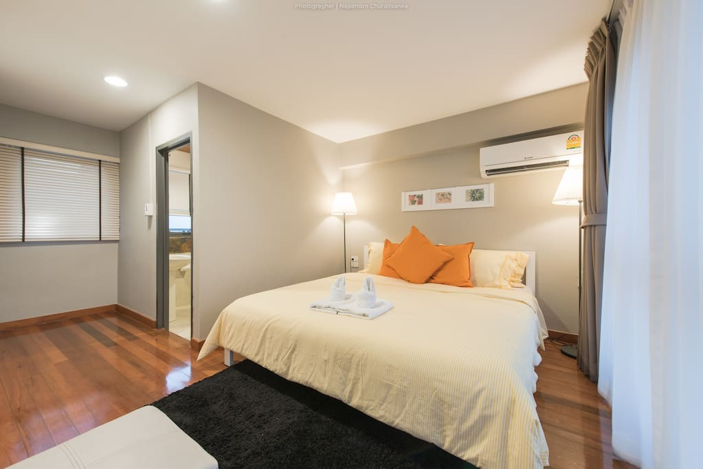 master bedroom with high quality bedding and en-suites bathroom