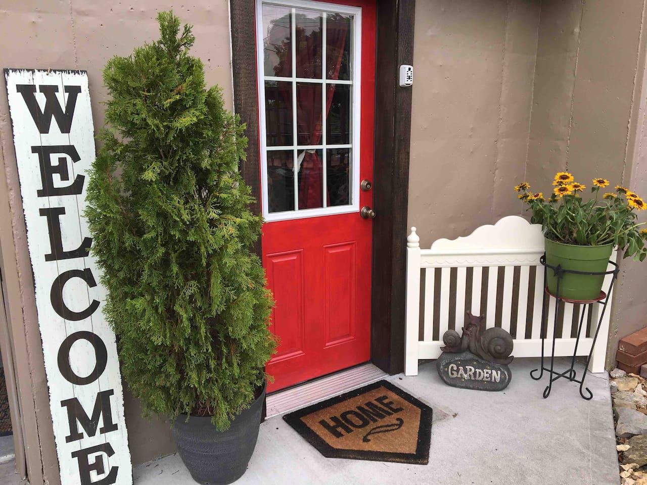 Private basement door entrance