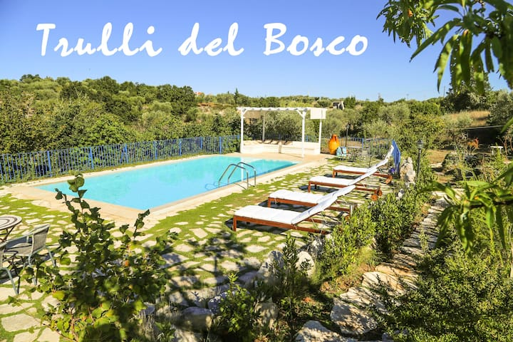 Amazing trulli in a real oak forest with pool