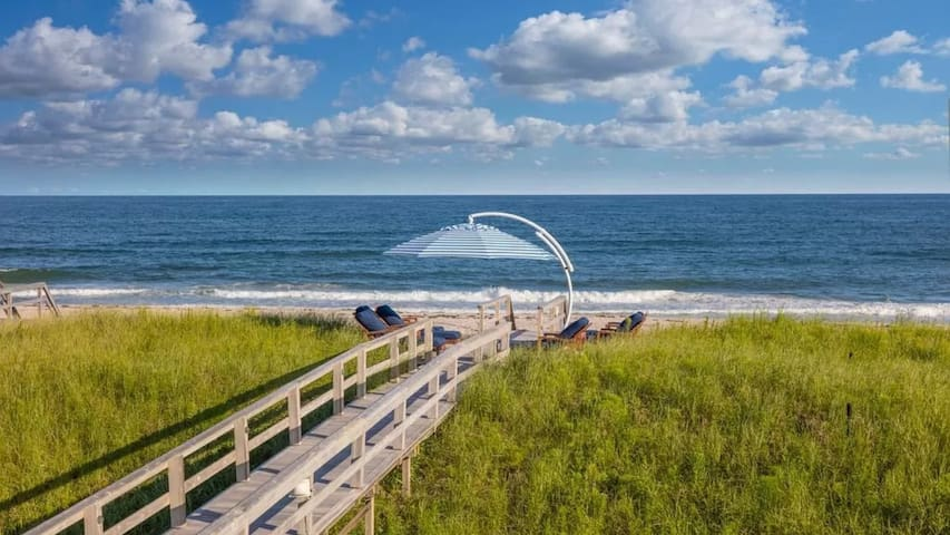 Private Ocean Beach Access, Heated Pool and Outdoor Lounge Areas, Coveted East Quogue Location