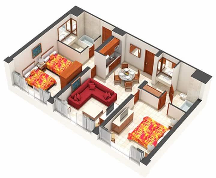 AC Sea Garden 2 Bedroom  Master Suite in Acapulco