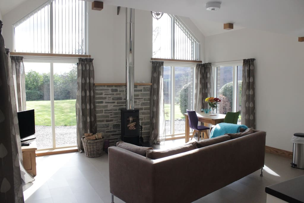 Comfortable, bright living space with views to the surrounding countryside.