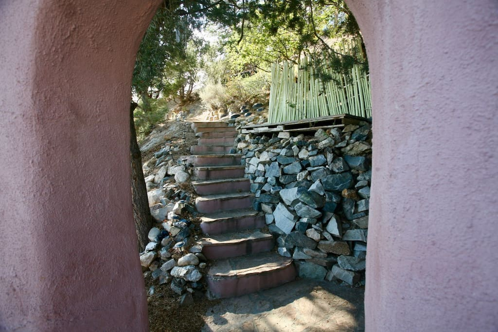 Steps from driveway.
