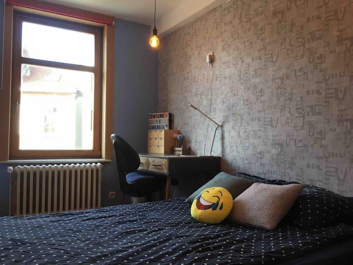 Knusse kamer met slaapbank en bureau